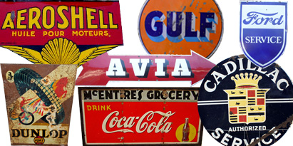 old original tin and enamel signs
