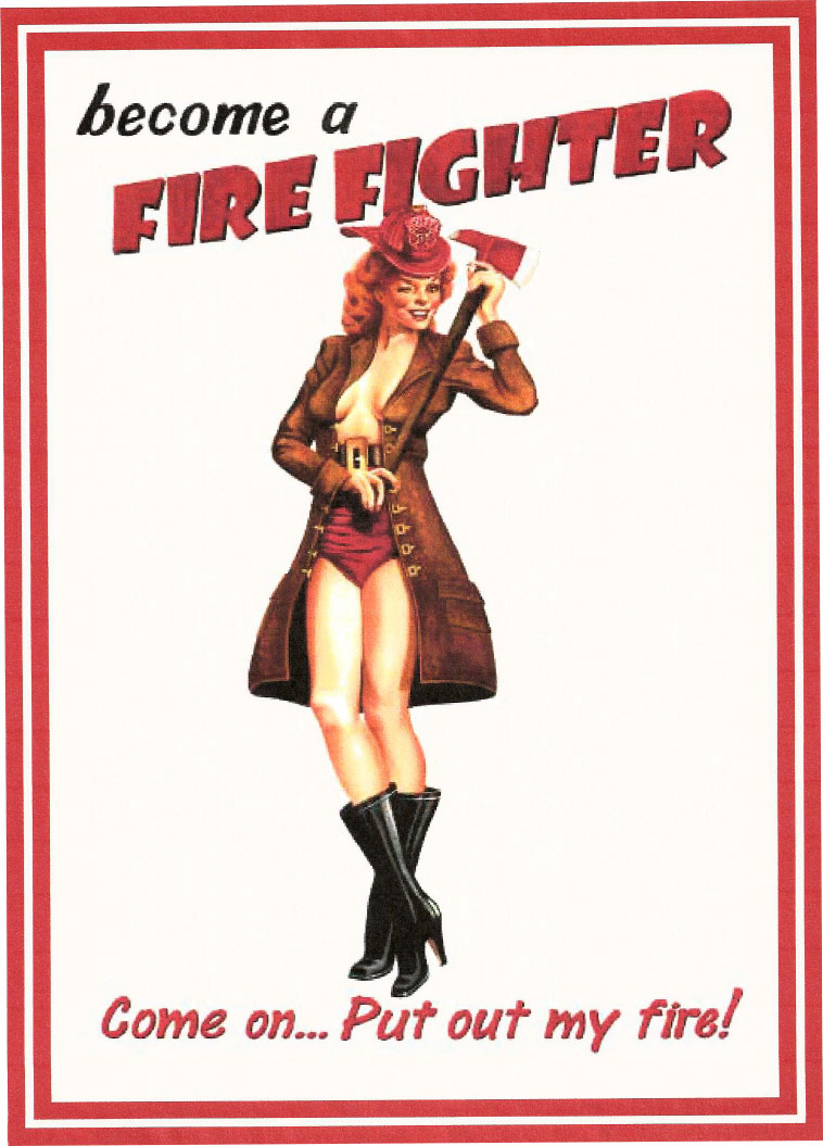 Route 66 Store Become A Firefighter Pinup Girl Tin Sign