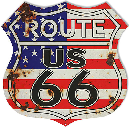 Route 66 Store Retro Route 66 Usa Flag Metal Sign