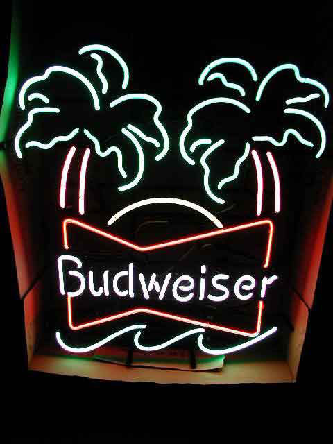 route 66 store budweiser doppel palmen neon reklame. Black Bedroom Furniture Sets. Home Design Ideas