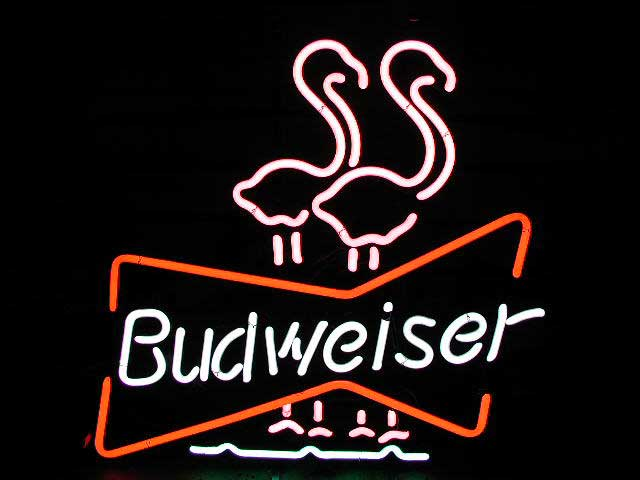 route 66 store budweiser flamingos neon reklame. Black Bedroom Furniture Sets. Home Design Ideas