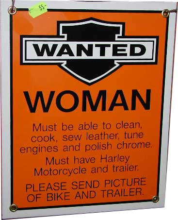 Route 66 Store - - Harley Davidson Wanted Womand Porcelain Sign