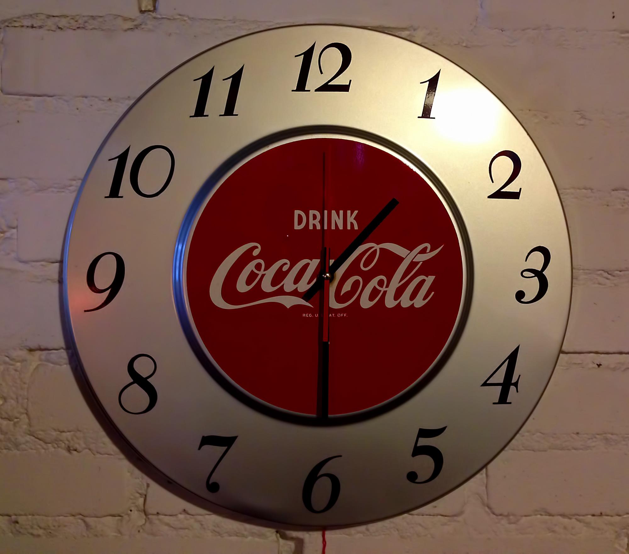 Route 66 store coca cola wall clock original ca 1950 original vintage coke wall clock amipublicfo Gallery