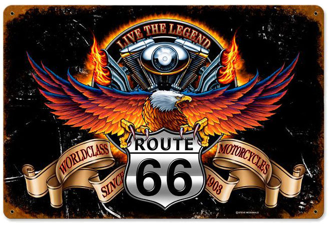 route 66 store - - route 66 live the legend harley davidson metal sign