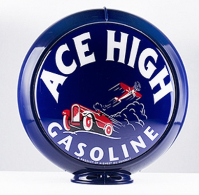 Ace High Gasoline Airplane Glass Globe 34cm Diameter