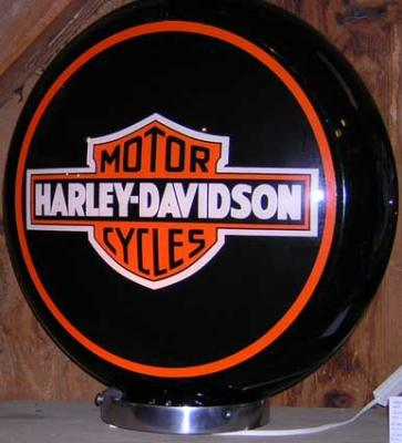 HARLEY DAVIDSON BLACK Glass Globe