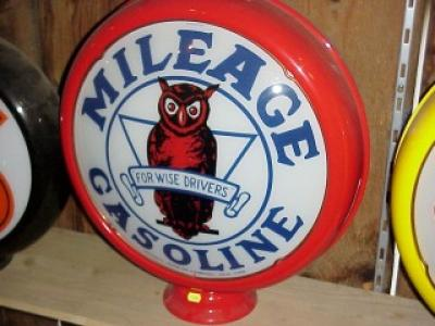 Mileage Gasoline Glass Globe 38cm in Diameter