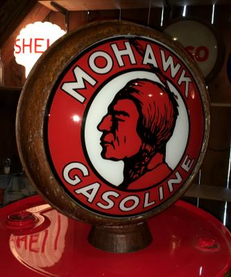 Mohawk Gasoline Glass Globe with Metal Frame Rusty Vintage Style, 38cm ( 15inch ) in Diameter