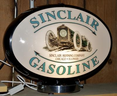 Sinclair Opaline Racecar Gasoline Oval Glass Globe