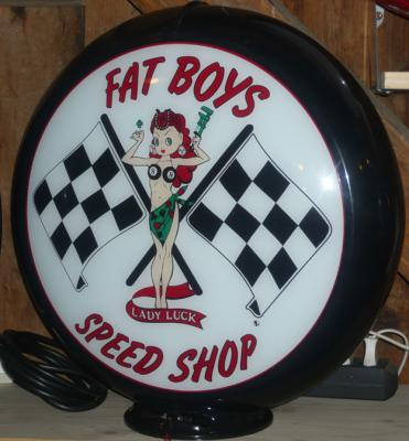 Fat Boys Speed Shop PinUp Glass Globe