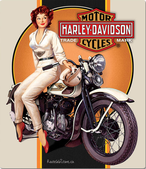 Route 66 Store - - Harley Davidson Mechanic Pin Up Girl Metal Sign